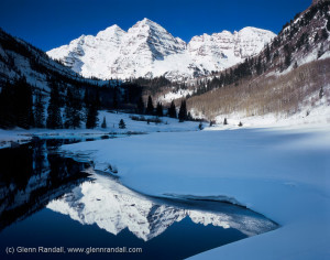 The Maroon Bells from Maroon Lake in winter, Maroon Bells-Snowmass Wilderness, Colorado